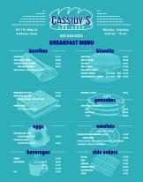 Cassidy's Sub Shop Breakfast Menu