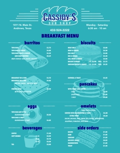 Cassidy's Sub Shop Breakfast Menu